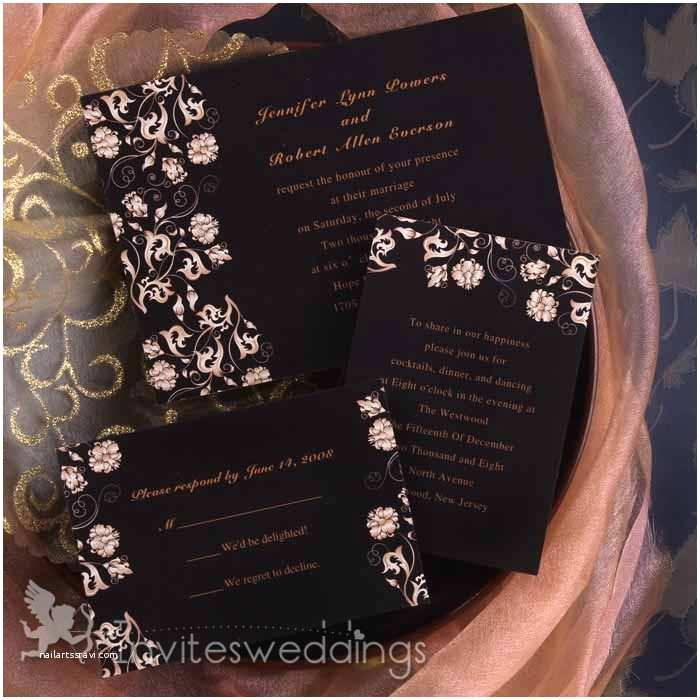 Classic Black and White Wedding Invitations Classic Black and White Floral Wedding Invitations Iwi241