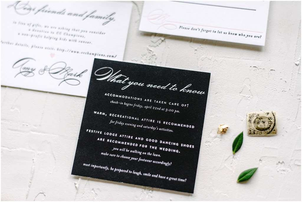 Classic Black and White Wedding Invitations Classic Black and White Letterpress Invitation