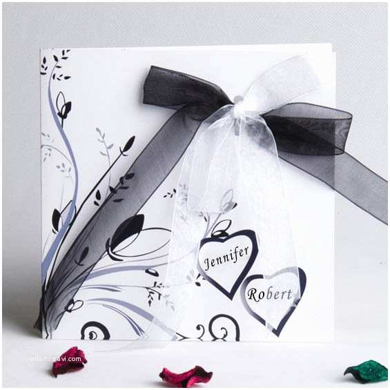 Classic Black and White Wedding Invitations Classic Fold Black and White Wedding Invitations Ewri007