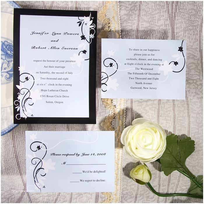 Classic Black and White Wedding Invitations Custom Classic Black and White Bud Wedding Invitation