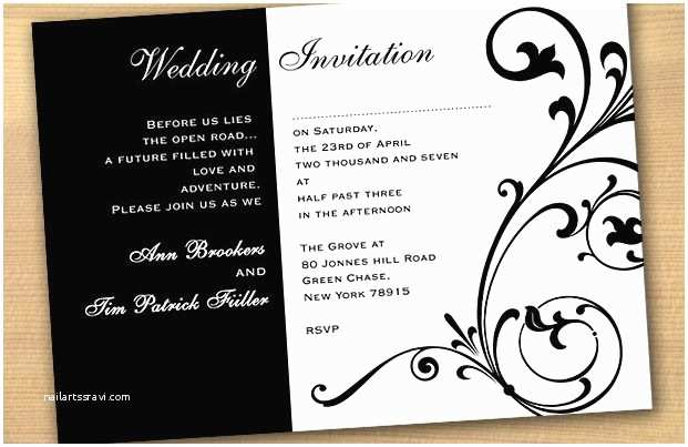 Classic Black and White Wedding Invitations Elegant Black and White Wedding Invitation Templates