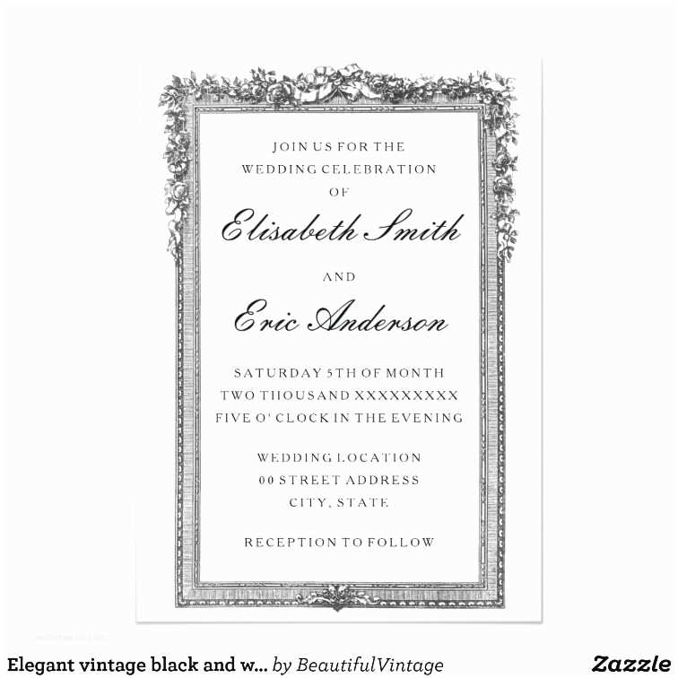 Classic Black and White Wedding Invitations Elegant Vintage Black and White Wedding Invitation