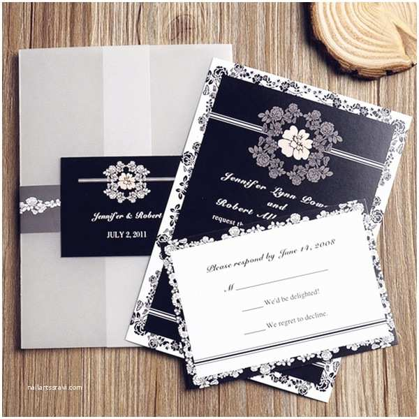 Classic Black and White Wedding Invitations Shabby Chic Vintage Floral Black and White Pocket Wedding