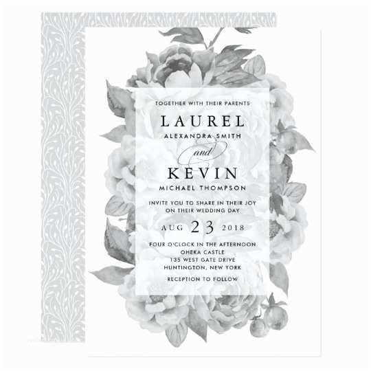 Classic Black and White Wedding Invitations Vintage Black & White Floral Wedding Invitation