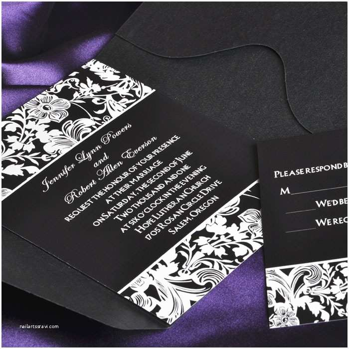 Classic Black and White Wedding Invitations Vintage Black and White Pocket Wedding Invitations with