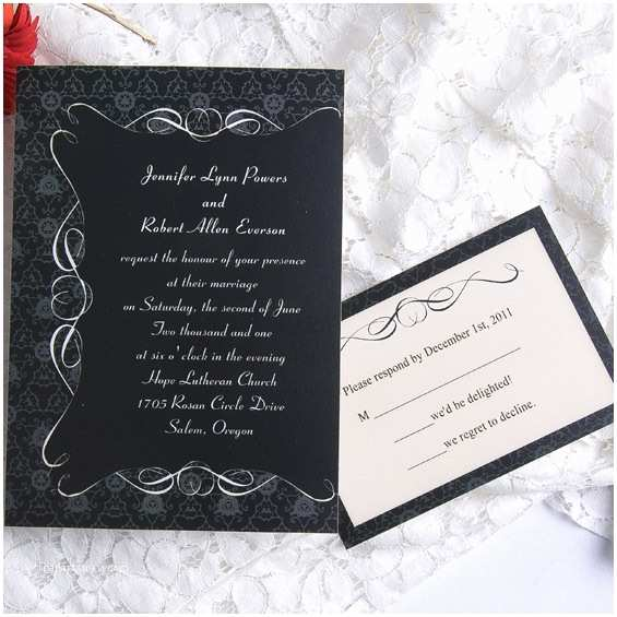 Classic Black and White Wedding Invitations Vintage Black and White Wedding Invitations Ewi008 as Low