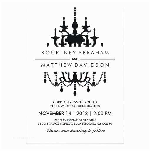 Classic Black and White Wedding Invitations Vintage Chandelier Wedding Invitation
