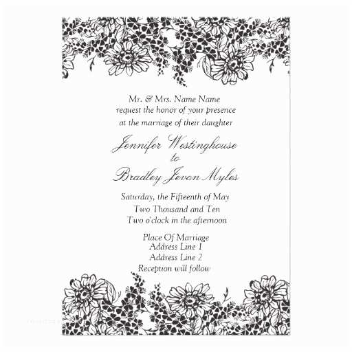 "Classic Black and White Wedding Invitations Vintage Floral Black and White Wedding Invitations 5"" X 7"