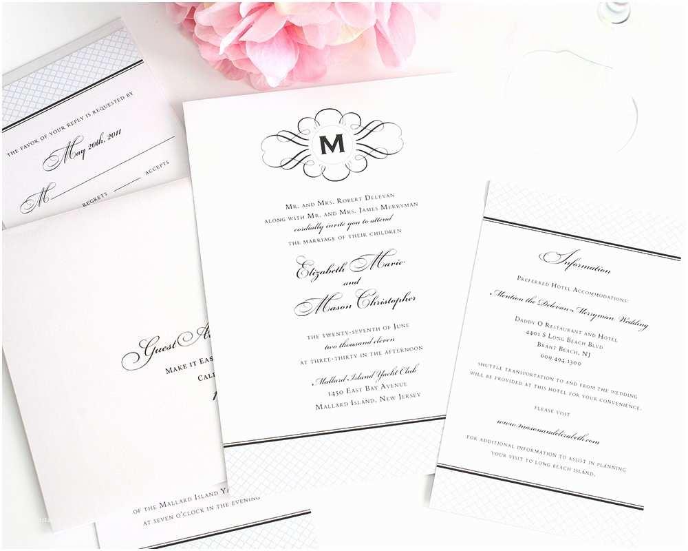 Classic Wedding Invitations Vintage Wedding Invitations with Monogram and Blue