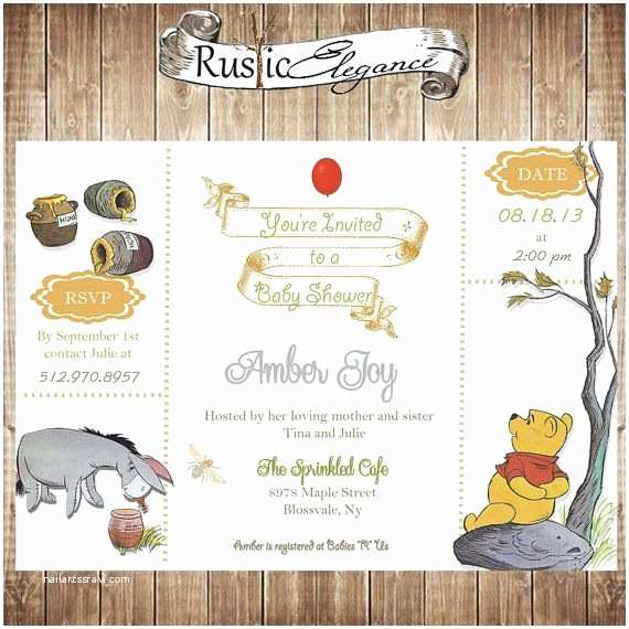 Classic Winnie the Pooh Baby Shower Invitations Classic Pooh Baby Shower Invitations