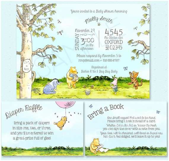 Classic Winnie the Pooh Baby Shower Invitations Classic Winnie the Pooh Baby Shower Invitation Classic Pooh