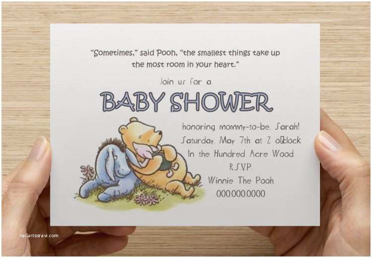 Classic Winnie the Pooh Baby Shower Invitations Classic Winnie the Pooh Baby Shower Invitation Print Your
