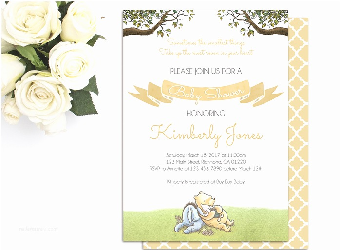 Classic Winnie the Pooh Baby Shower Invitations Classic Winnie the Pooh Baby Shower Invitations