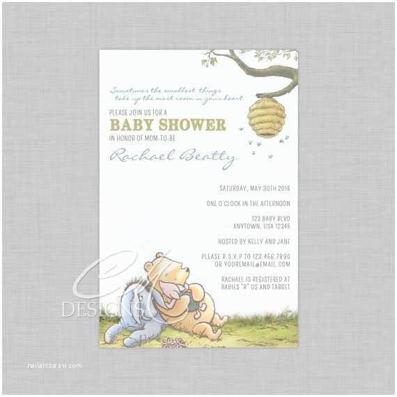 Classic Winnie the Pooh Baby Shower Invitations Classic Winnie the Pooh Baby Shower Invite by