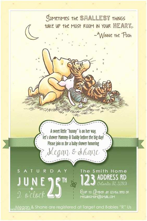 Classic Winnie the Pooh Baby Shower Invitations Other Lady and the O Jays On Pinterest