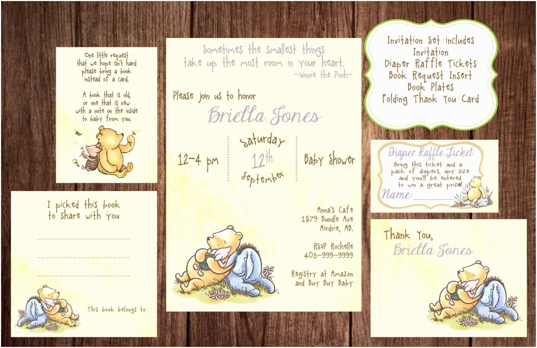 Classic Winnie the Pooh Baby Shower Invitations Printable Winnie the Pooh Baby Shower Story Book Baby Shower