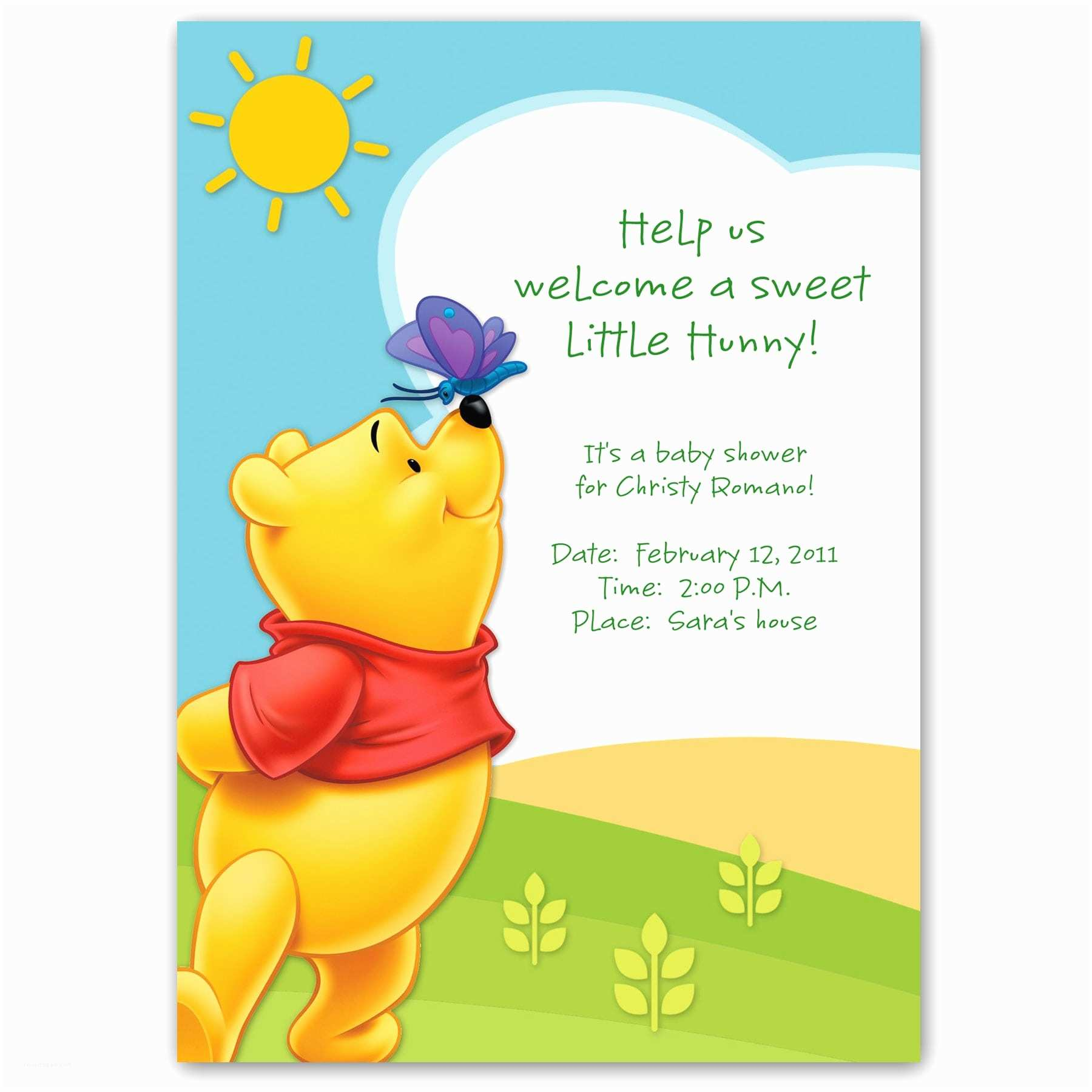 Classic Winnie the Pooh Baby Shower Invitations Winnie the Pooh Baby Shower Invitation Template