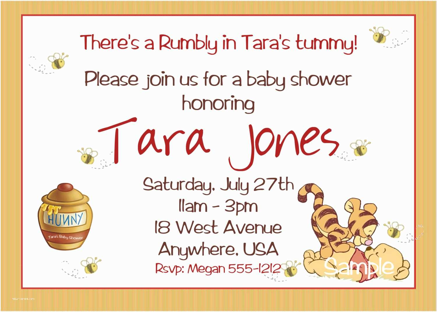 Classic Winnie the Pooh Baby Shower Invitations Winnie the Pooh Baby Shower Invitations Printable Card