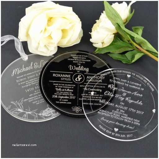Clear Plastic Wedding Invitations C6 Engraved Round Acrylic Wedding Invitations