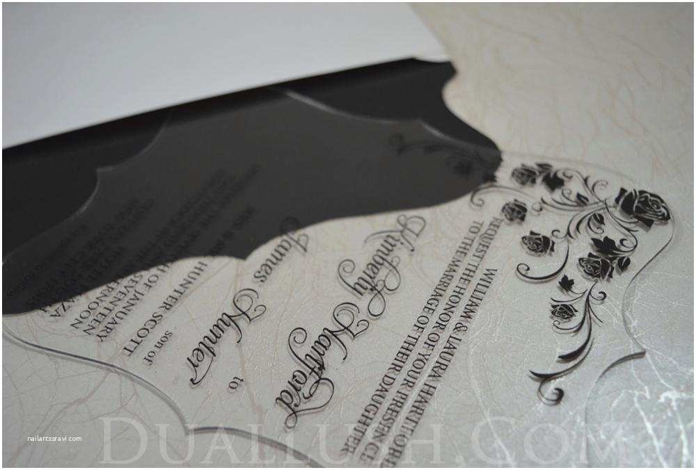 Clear Plastic Wedding Invitations Clear Acrylic Wedding Invitation Card Black Printing