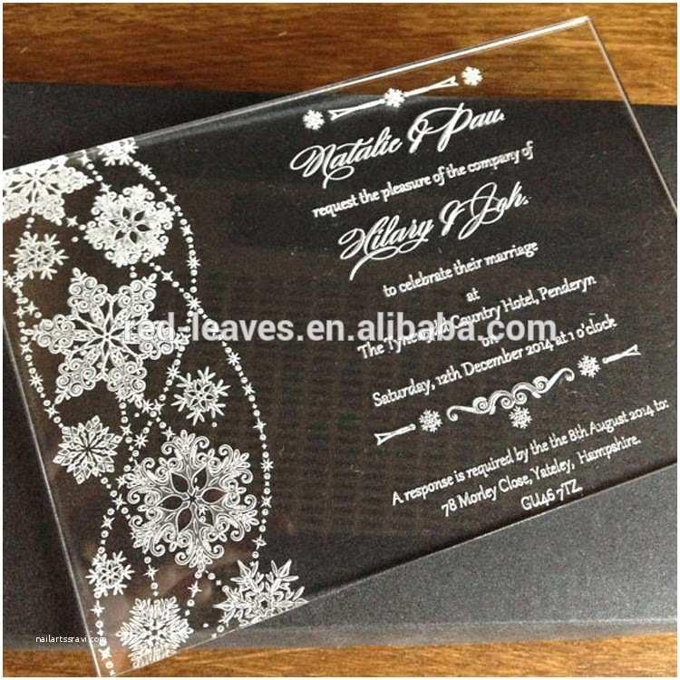 Clear Plastic Wedding Invitations Clear Acrylic Wedding Invitations with Engraving Black