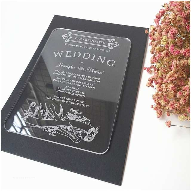 Clear Plastic Wedding Invitations Sample order for 5 7inch Vintage Swallow Elements