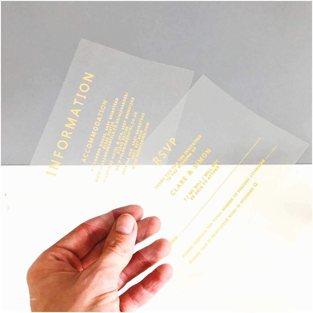 Clear Wedding Invitations Clear and Gold Acetate Wedding Invitation by Made with