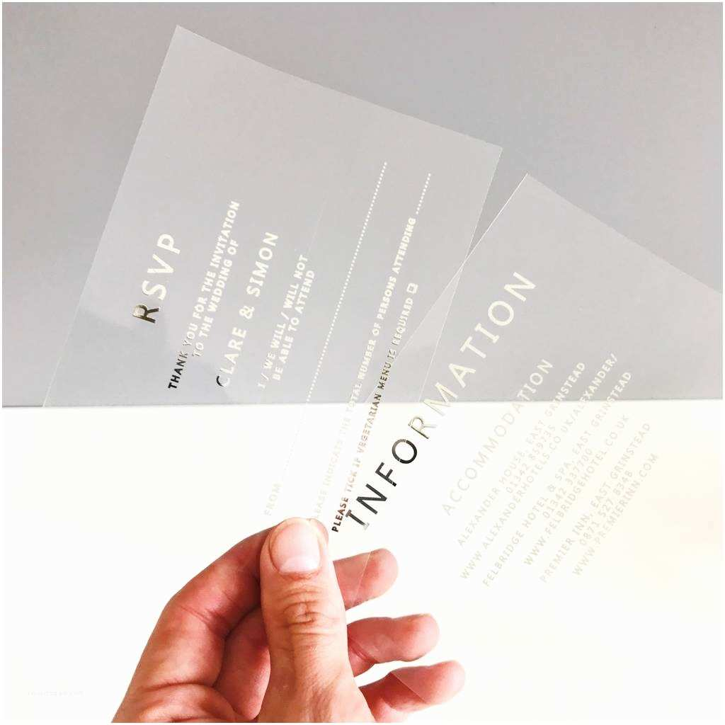 Clear Wedding Invitations Clear and Silver Foiled Acetate Wedding Invitation by Made