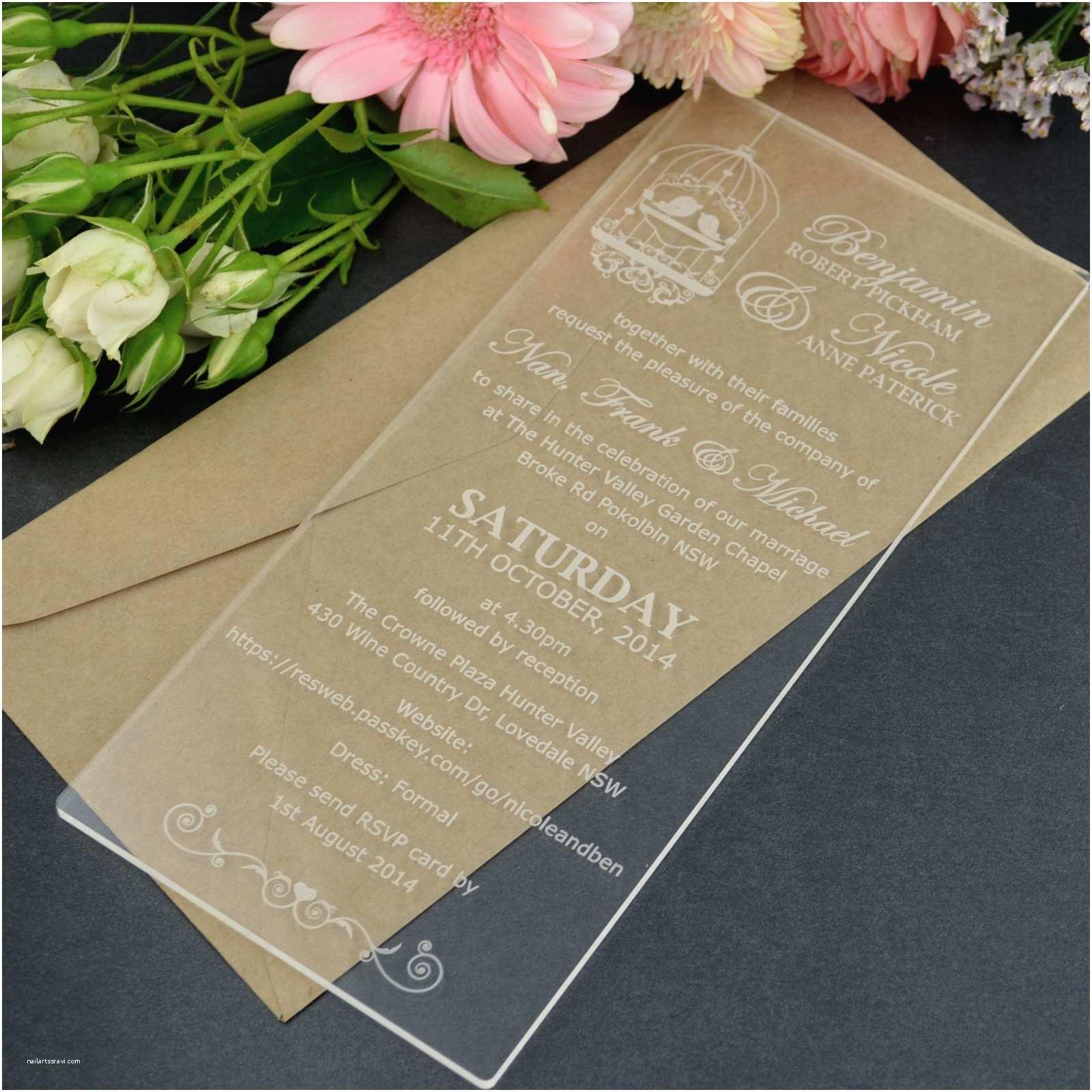 Clear Wedding Invitations Dl Size Engraved Acrylic Wedding Invitations Unique