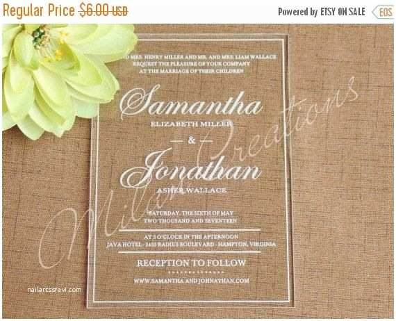 Clear Wedding Invitations On Sale Acrylic Wedding Invitations In Clear Engraved