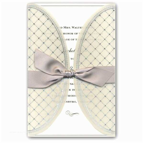 Clearance Wedding Invitations Elegant Gatefold Patterned Silver Wedding Invitations