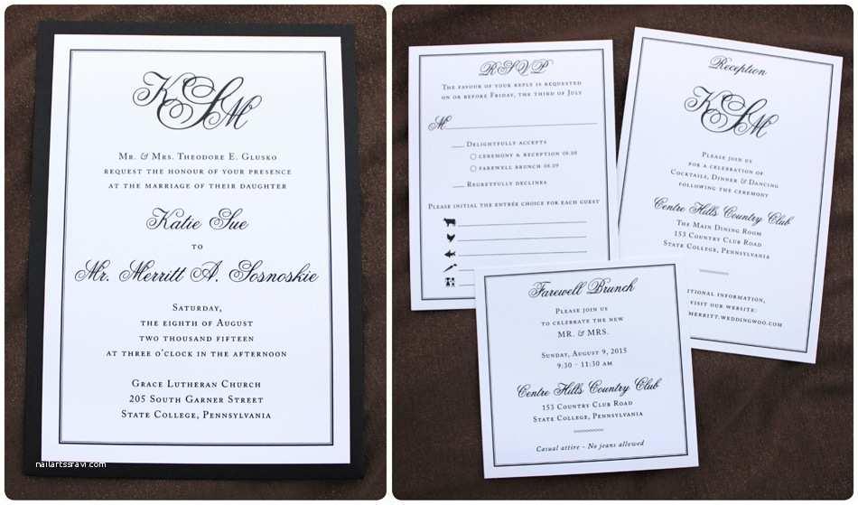 Clutch Wedding Invitations Black & White formal Monogram & Border Clutch Pocket