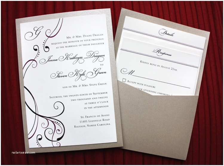 Clutch Wedding Invitations Burgundy Black & Champagne Metallic Clutch Pocket Wedding