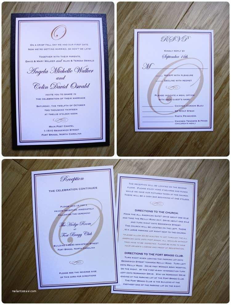 Clutch Wedding Invitations Dark Purple orange & Metallic Black Monogram Border