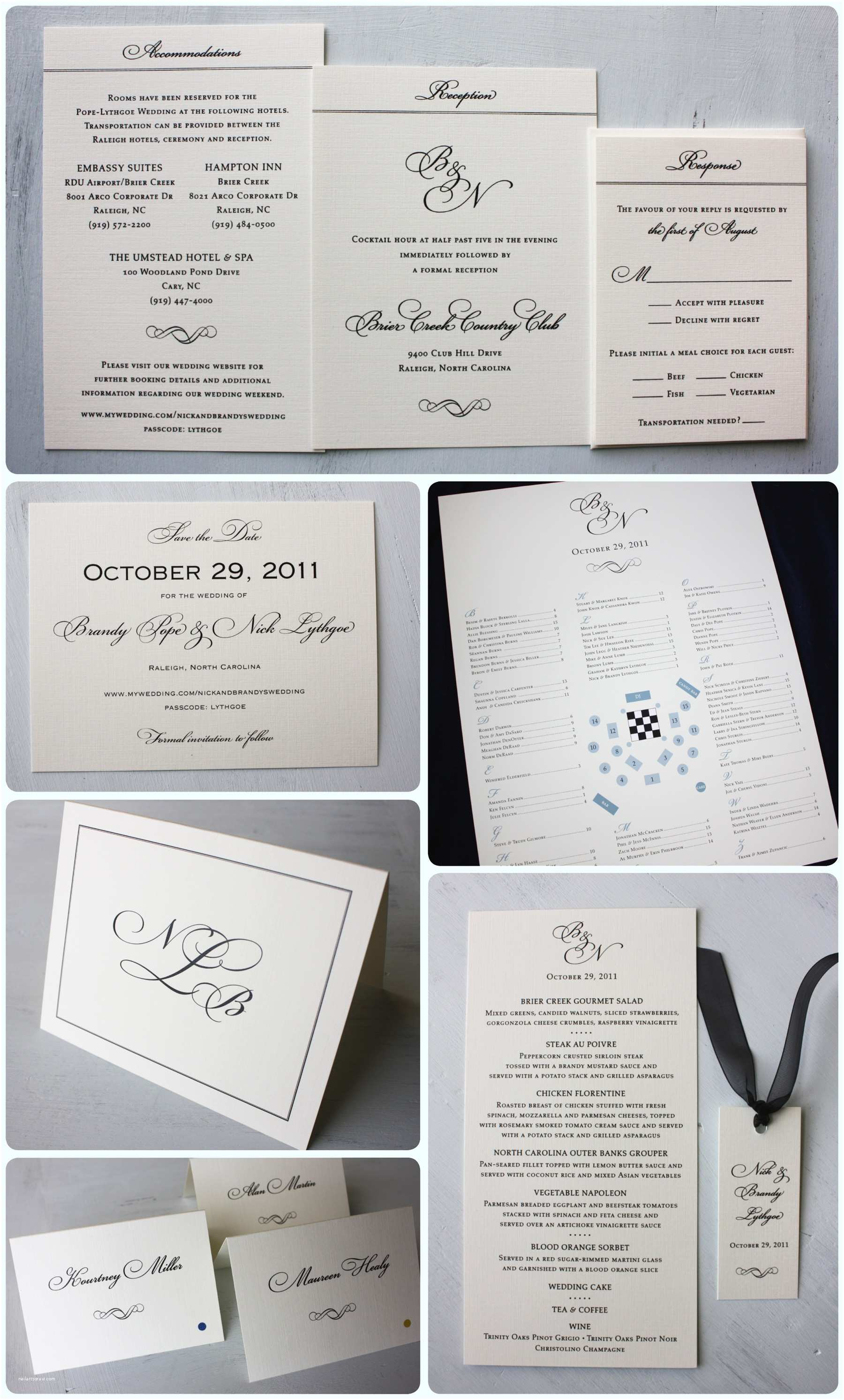 Clutch Wedding Invitations formal Black & Cream Monogram with Silver Clutch Wedding