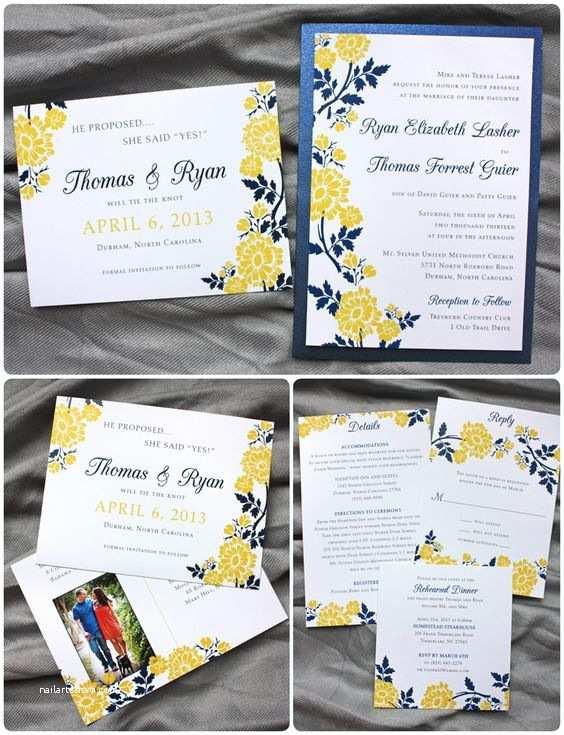 Clutch Wedding Invitations Golden Yellow & Navy Blue Spring Flower Clutch Pocket