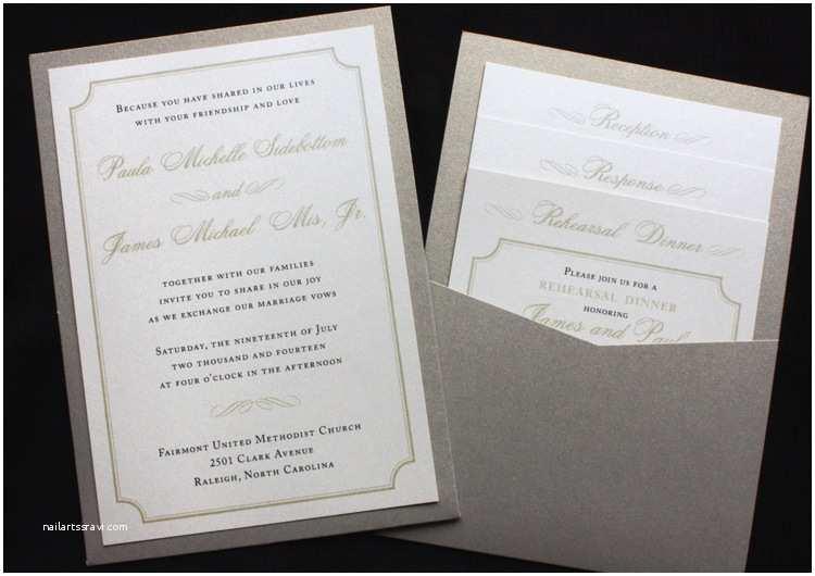 Clutch Wedding Invitations Metallic Gold Leaf & Cream Opal Border & Scroll Clutch