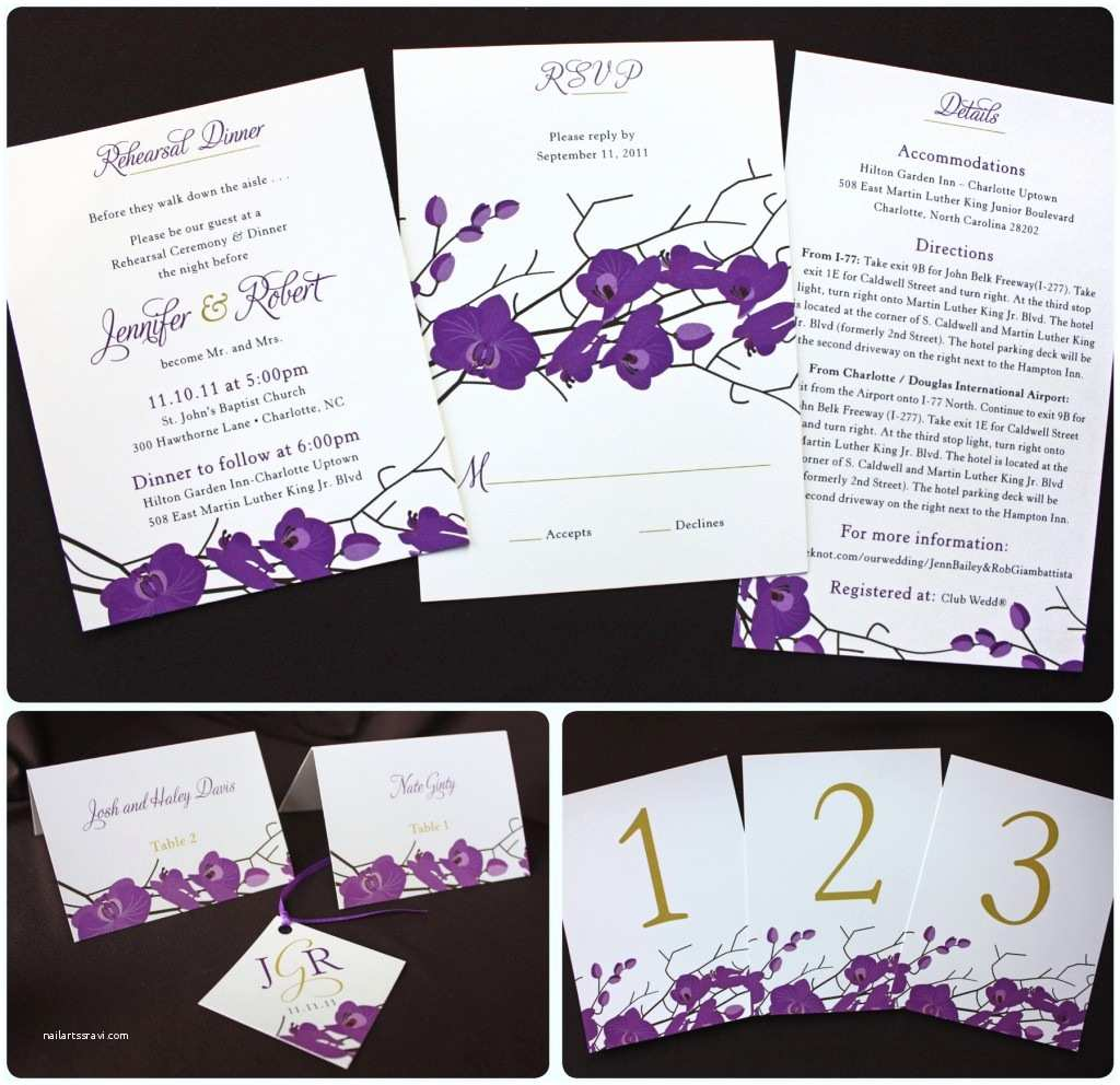 Clutch Wedding Invitations Purple & Gold orchid Clutch Wedding Invitations Emdotzee