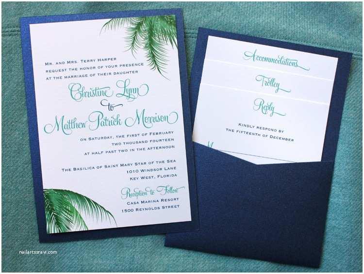 Clutch Wedding Invitations Teal Blue & Green Palm Fronds Clutch Pocket Invitations