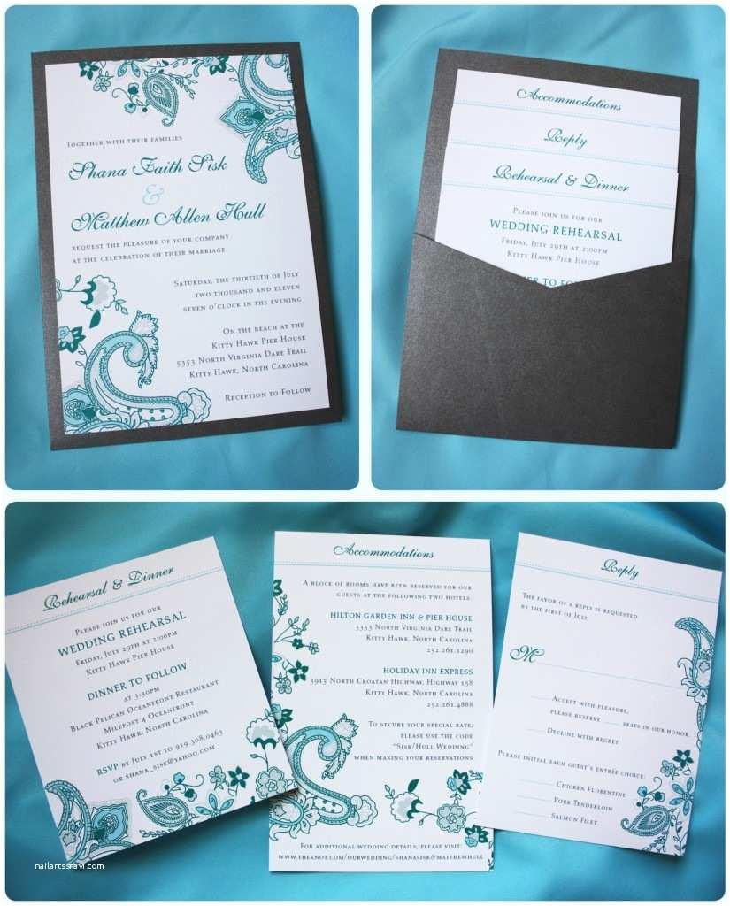Clutch Wedding Invitations Turquoise Paisley Floral Clutch Pocket Wedding Invitation