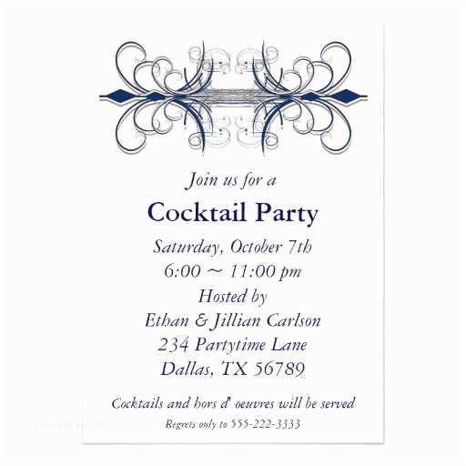 "Cocktail Party Invitation Cocktail Party Invitation Blue Party Invitations 5"" X 7"