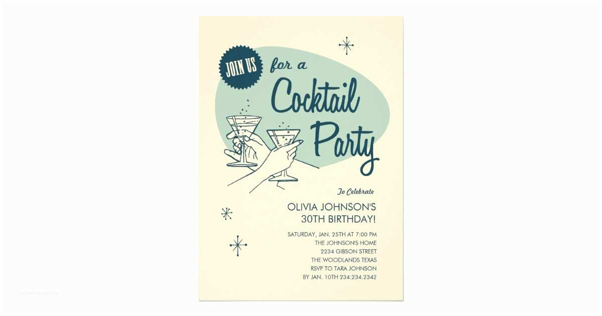 Cocktail Party Invitation Retro Cocktail Party Invitations