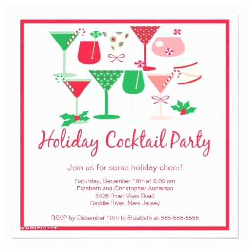 Cocktail Party Invitations Holiday Cocktail Christmas Party Invitation