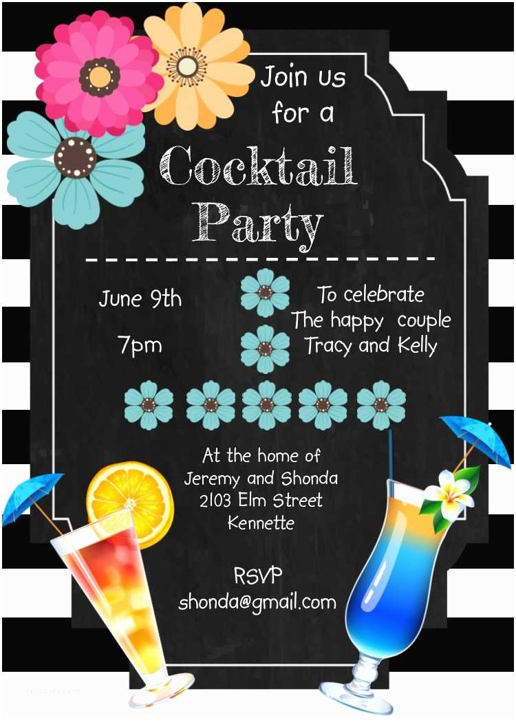 Cocktail Party Invitations Unique Cocktail Party Invitation Custom Created for