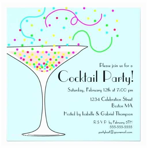 Cocktail Wedding Invitations Confetti Cocktail Party Invitation Square Invitation Card