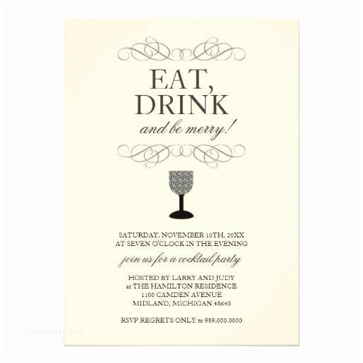 Cocktail Wedding Invitations Eat Drink and Be Merry Cocktail Party Invitation