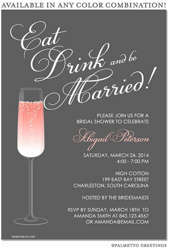 Cocktail Wedding Invitations Printable Eat Drink and Be Married Happy Hour Champagne