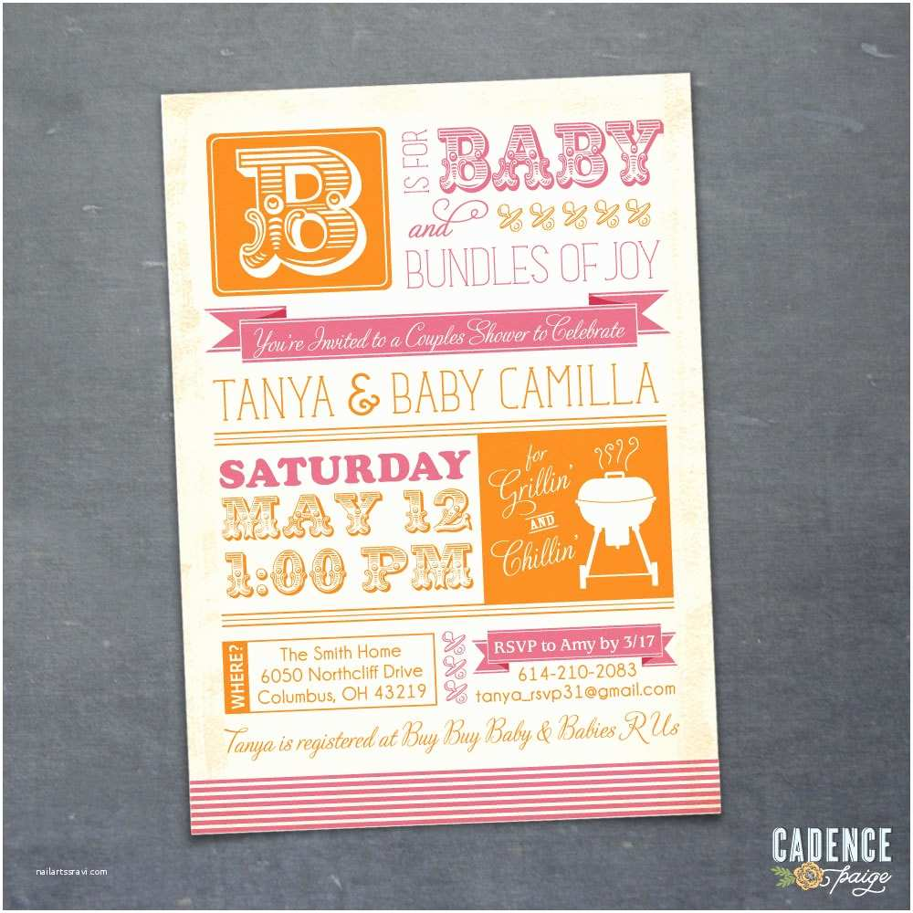 Coed Baby Shower Invitation Wording Bbq Baby Shower Invitation Couples Shower Invitation Coed
