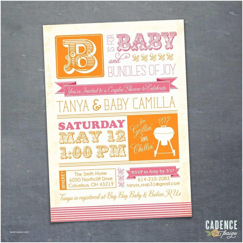 Coed Baby Shower Invitation Wording Bbq Baby Shower Invitation Couples Shower Invitation Coed