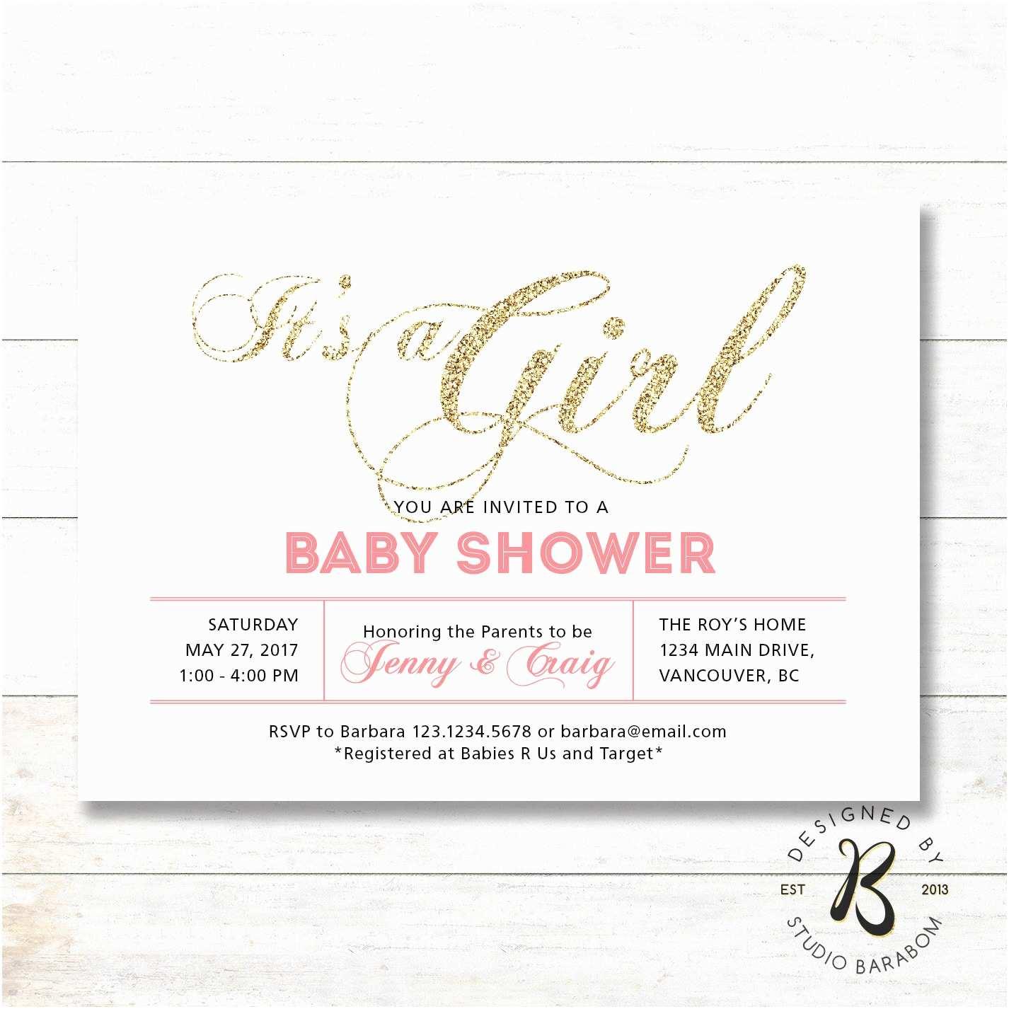 Coed Baby Shower Invitation Wording Girl Baby Shower Invitation Coed Couples Baby Shower